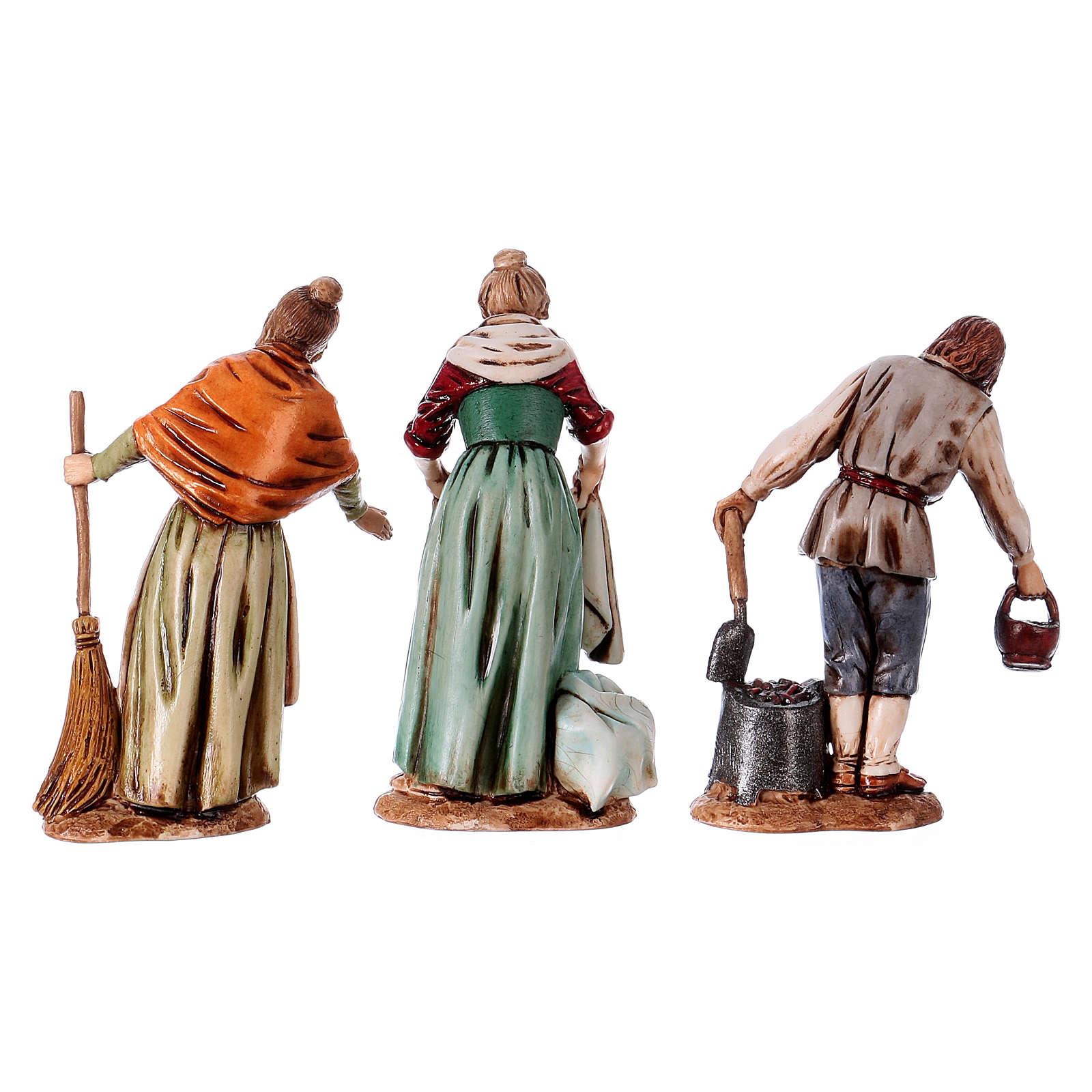 Personaggi affacciati 3 soggetti presepe 10 cm Moranduzzo stile Settecento 4