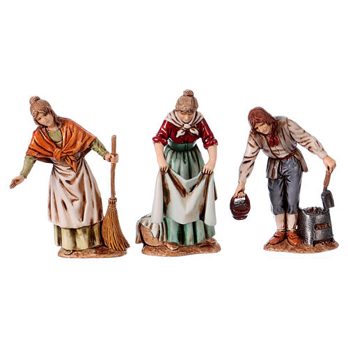 Personaggi affacciati 3 soggetti presepe 10 cm Moranduzzo stile Settecento 1