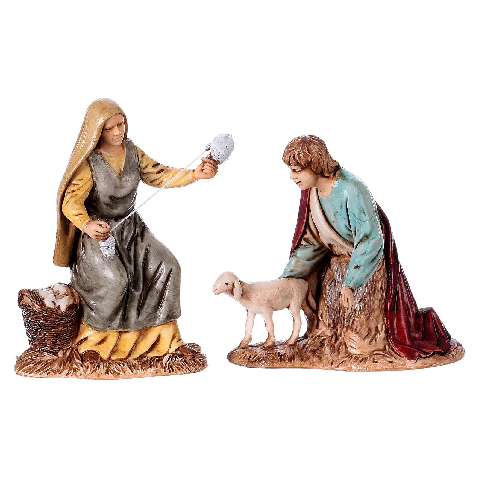 Fiandeira e pastor com ovelha para presépio Moranduzzo com figuras altura média 10 cm estilo napolitano 4