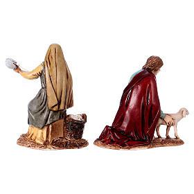 Fiandeira e pastor com ovelha para presépio Moranduzzo com figuras altura média 10 cm estilo napolitano s4