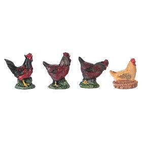 Rooster and hens in resin for 10 cm Nativity scene Moranduzzo, 4 pcs s1