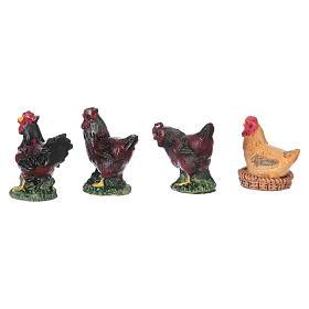 Rooster and hens in resin for 10 cm Nativity scene Moranduzzo, 4 pcs s3