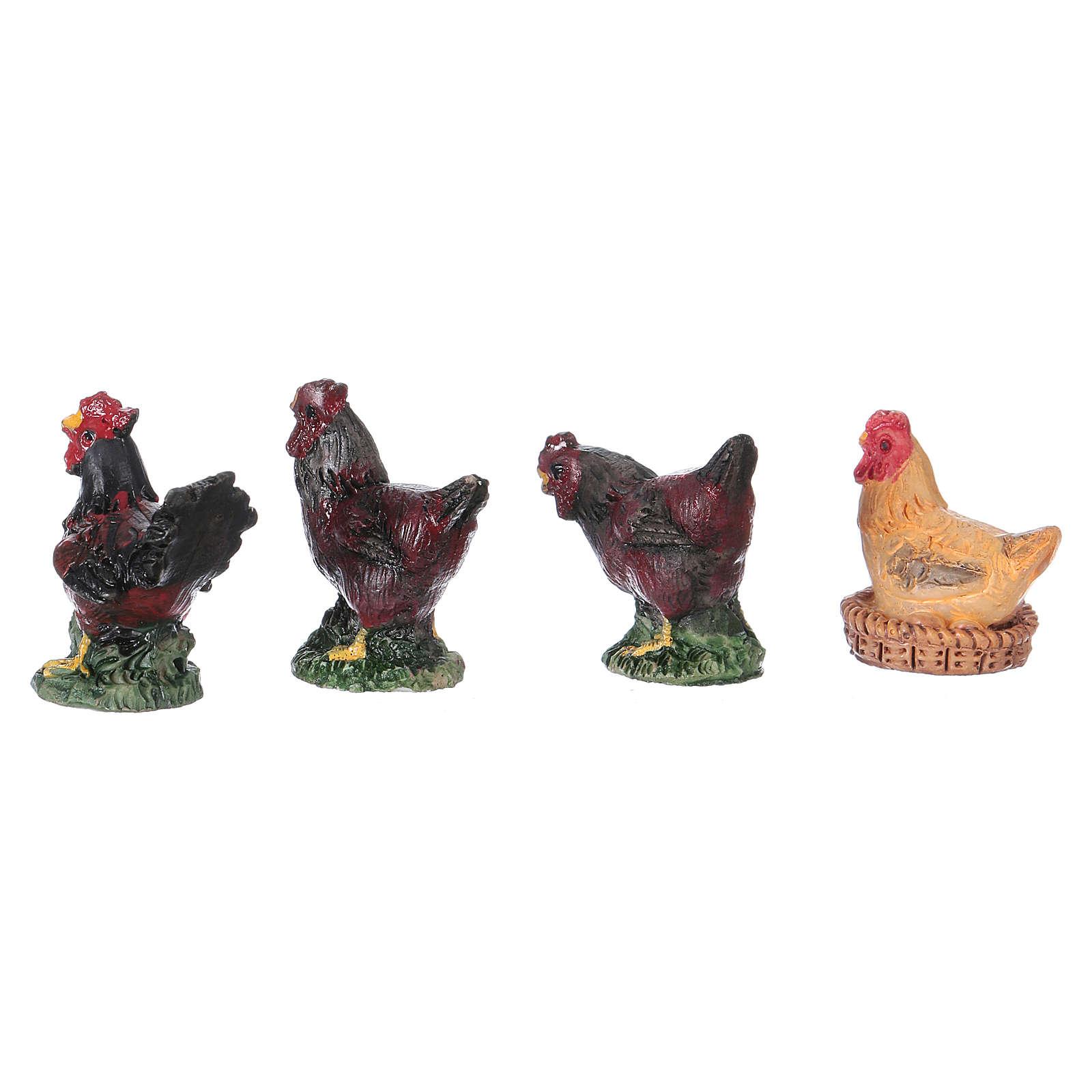 Set gallinas y gallo 4 figuras belén Moranduzzo 10 cm de altura media 4
