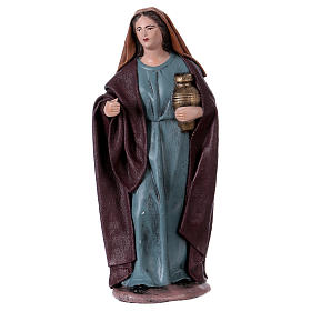 Traveller and woman with jar for Nativity scene in terracotta, Spanish style 14 cm s3