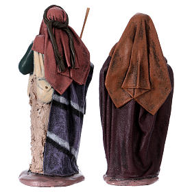 Traveller and woman with jar for Nativity scene in terracotta, Spanish style 14 cm s4