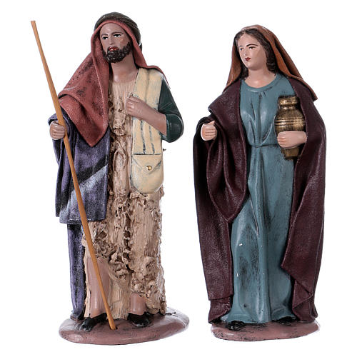 Traveller and woman with jar for Nativity scene in Spanish style, terracotta rigurines 14 cm 1