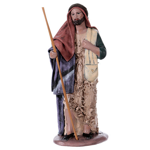Traveller and woman with jar for Nativity scene in Spanish style, terracotta rigurines 14 cm 2