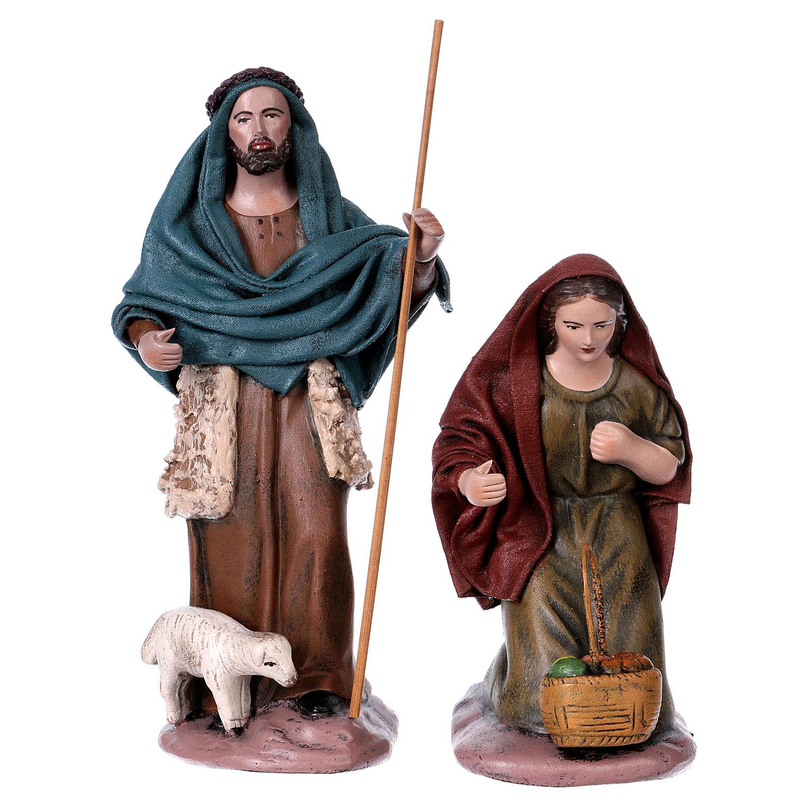 Pastore con agnello e donna adorante presepe 14 cm terracotta 3