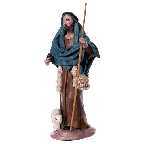 Pastore con agnello e donna adorante presepe 14 cm terracotta 2