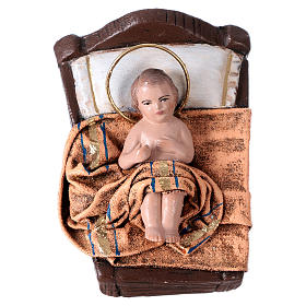Natività presepe 14 cm terracotta stoffa 6 soggetti stile Spagnolo s3