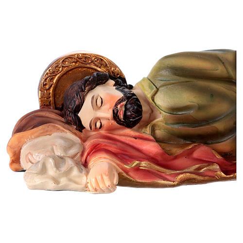 São José dormindo para presépio resina com figuras 20 cm altura média