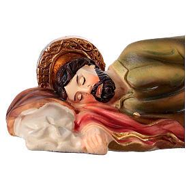Peça em resina São José dormindo para presépio com figuras 12 cm altura média