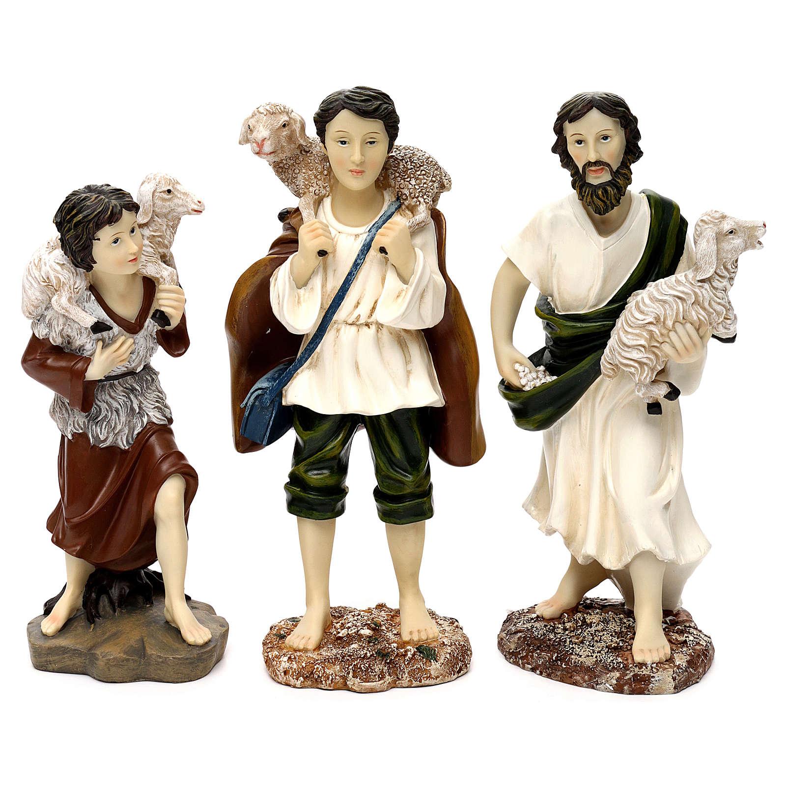 Pastori con pecora resina colorata 30 cm set 3 pz 3