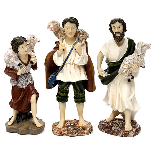 Shepherds with sheep, 30 cm in colored resin 3 pcs set 1