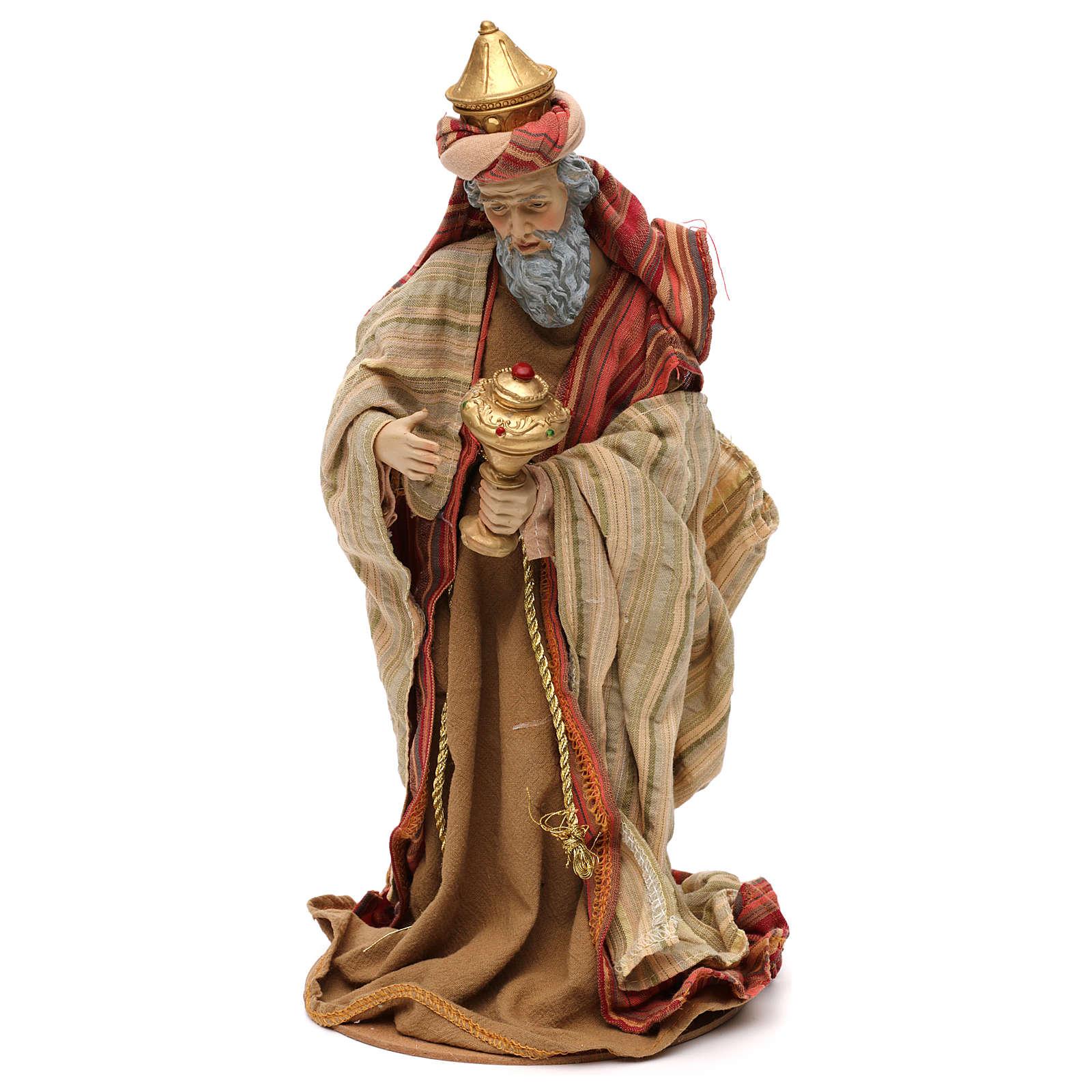 Tres Reyes Magos estilo oriental resina coloreada 30 cm 3