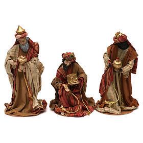 Tres Reyes Magos estilo oriental resina coloreada 30 cm s1