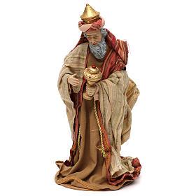 Tres Reyes Magos estilo oriental resina coloreada 30 cm s5