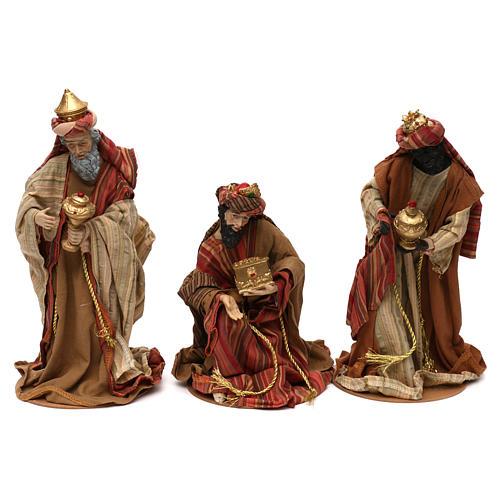 Tres Reyes Magos estilo oriental resina coloreada 30 cm 1
