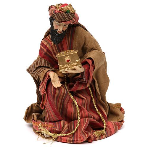 Tres Reyes Magos estilo oriental resina coloreada 30 cm 2