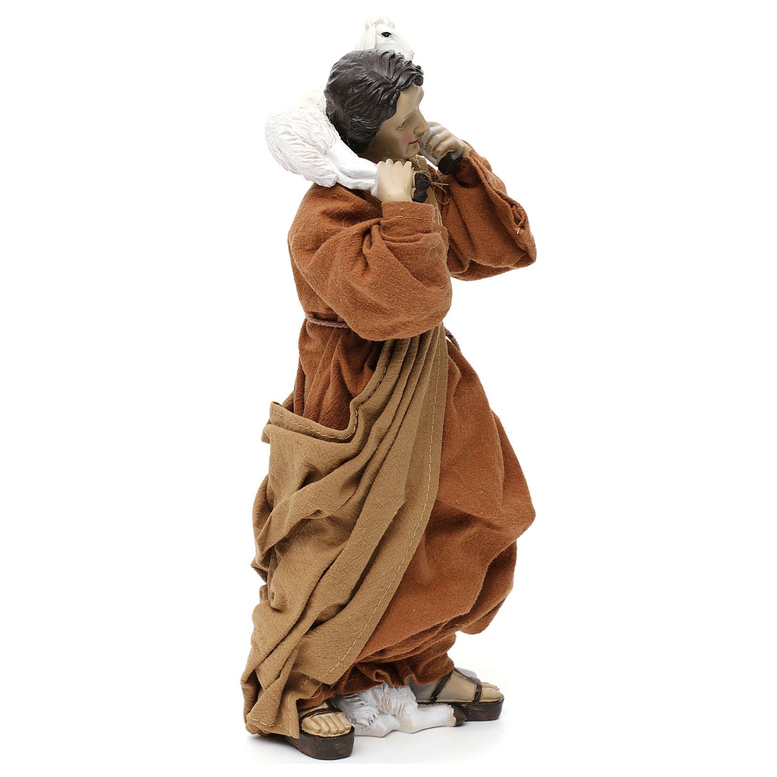 Pastore con pecora sulle spalle resina colorata 30 cm 3