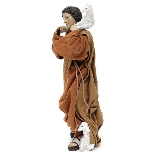 Pastore con pecora sulle spalle resina colorata 30 cm 2