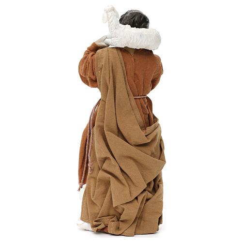 Pastore con pecora sulle spalle resina colorata 30 cm 4
