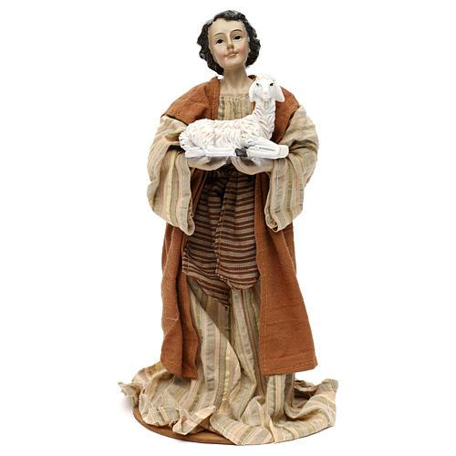 Pastor con oveja en brazos resina coloreada 30 cm 1