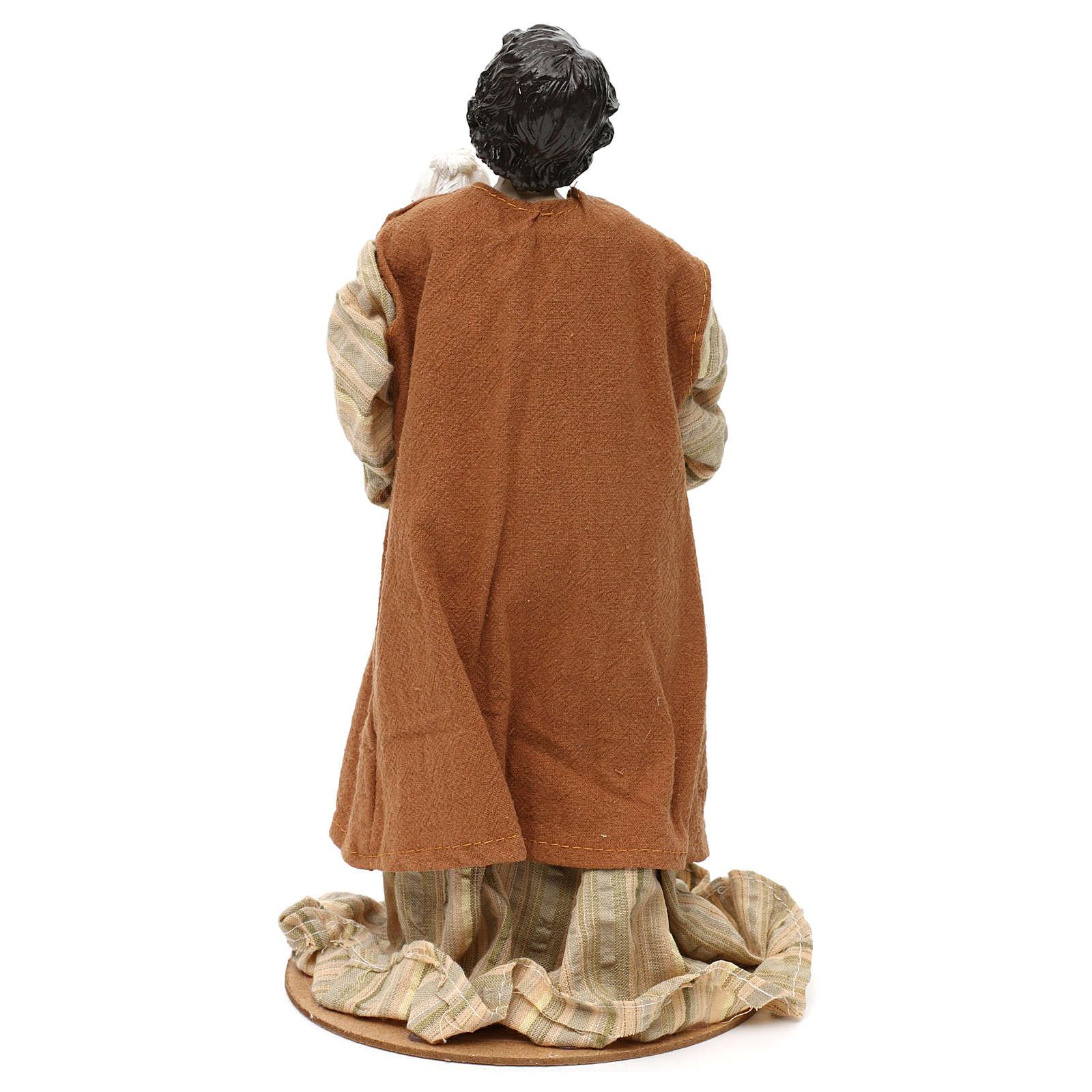 Pastore con pecora sulle braccia resina colorata 30 cm 3