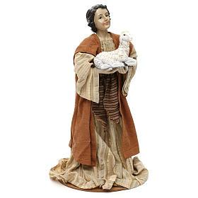 Pastore con pecora sulle braccia resina colorata 30 cm s3