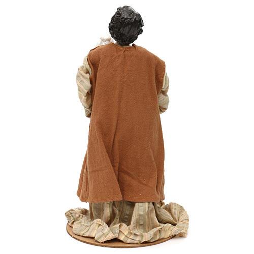 Pastore con pecora sulle braccia resina colorata 30 cm 4
