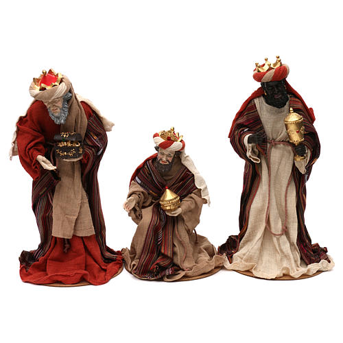 Tres Reyes Magos estilo oriental resina coloreada 42 cm 1