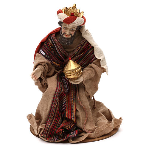 Tres Reyes Magos estilo oriental resina coloreada 42 cm 2