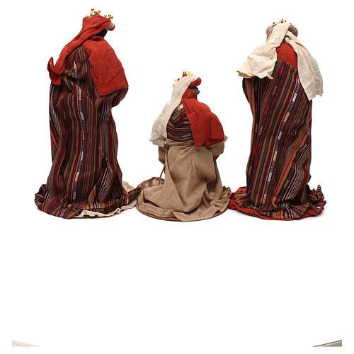 Tres Reyes Magos estilo oriental resina coloreada 42 cm 5