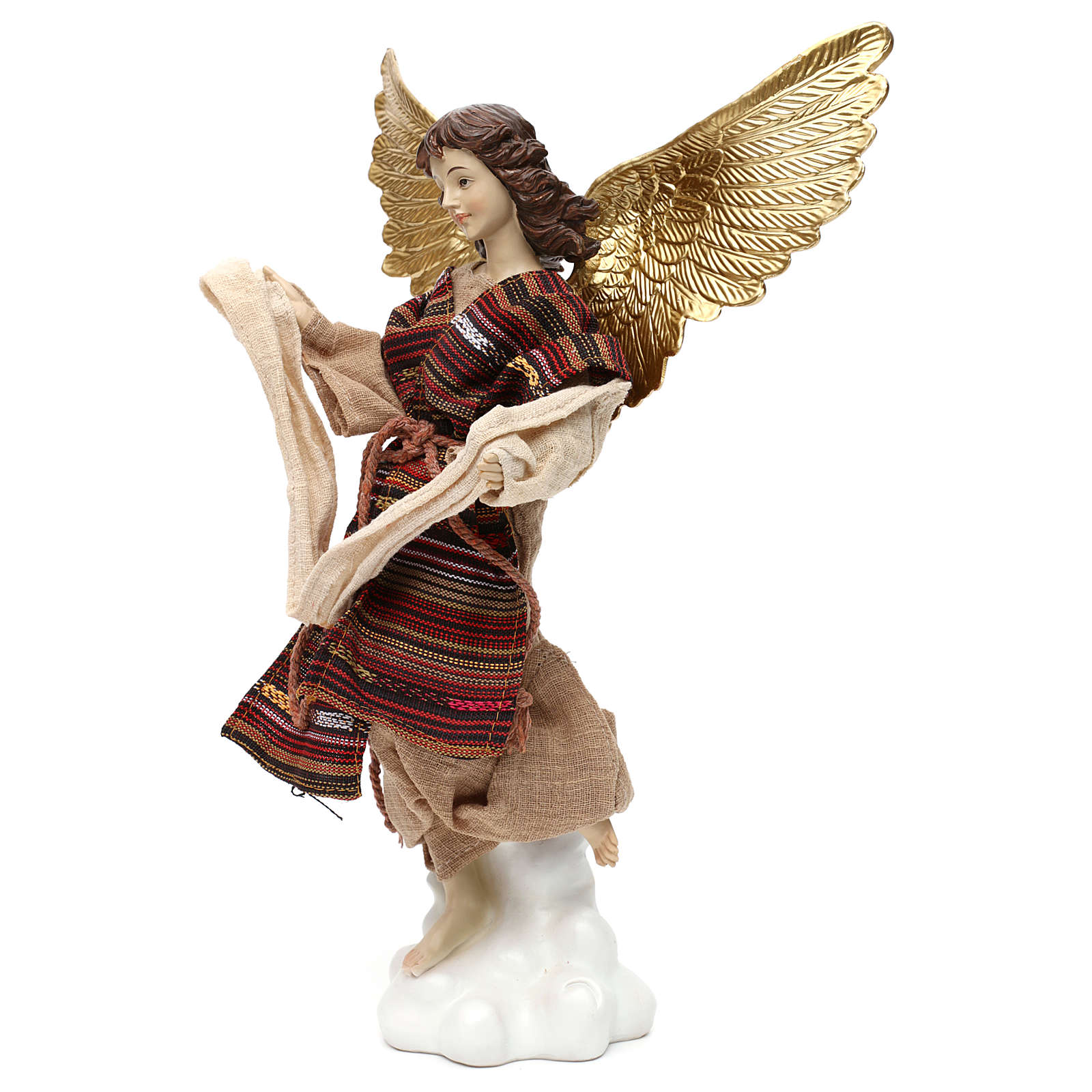 Nativity angel oriental style, in colored resin 42 cm 3