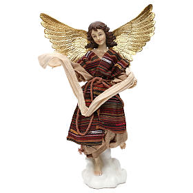 Nativity angel oriental style, in colored resin 42 cm s1