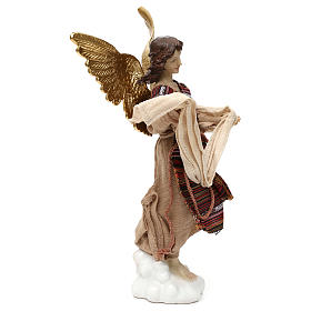 Nativity angel oriental style, in colored resin 42 cm s3