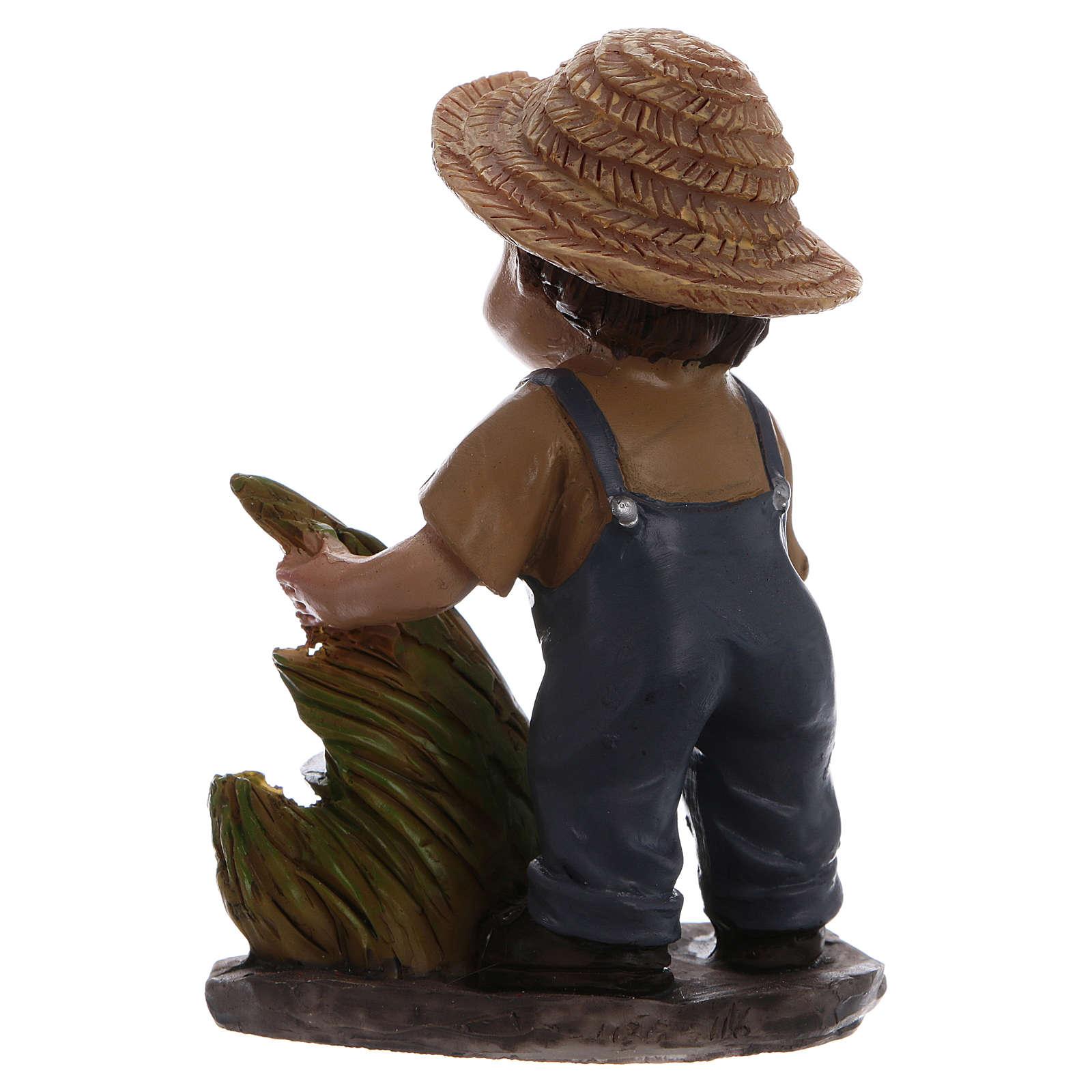 Estatua campesino con hoz belén línea niño 9 cm 3
