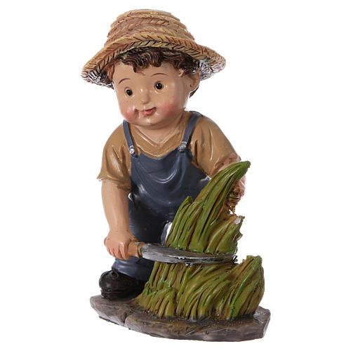 Estatua campesino con hoz belén línea niño 9 cm 2