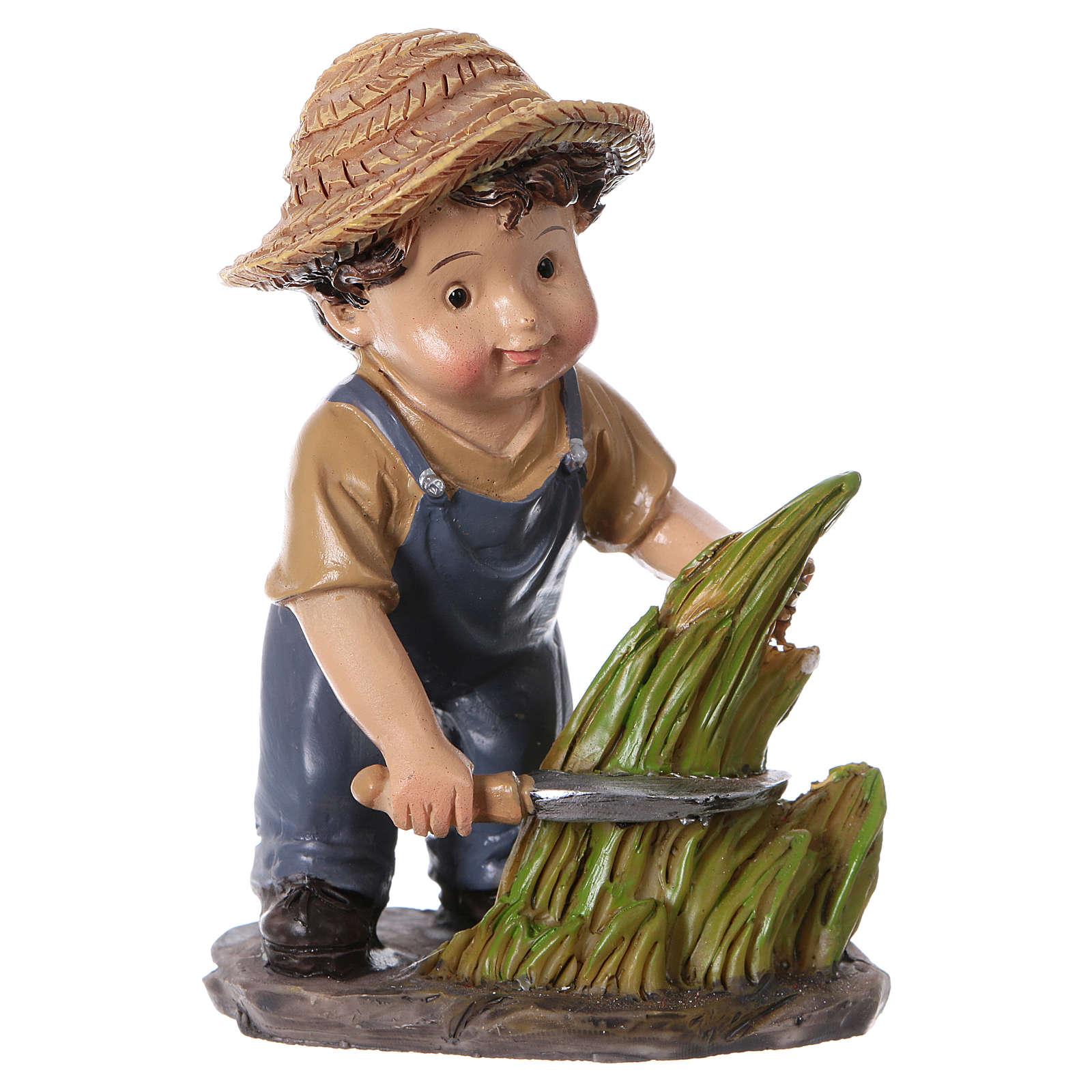 Statuina contadino con falce presepe linea bambino 9 cm 3