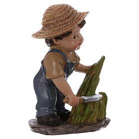 Statuina contadino con falce presepe linea bambino 9 cm s3