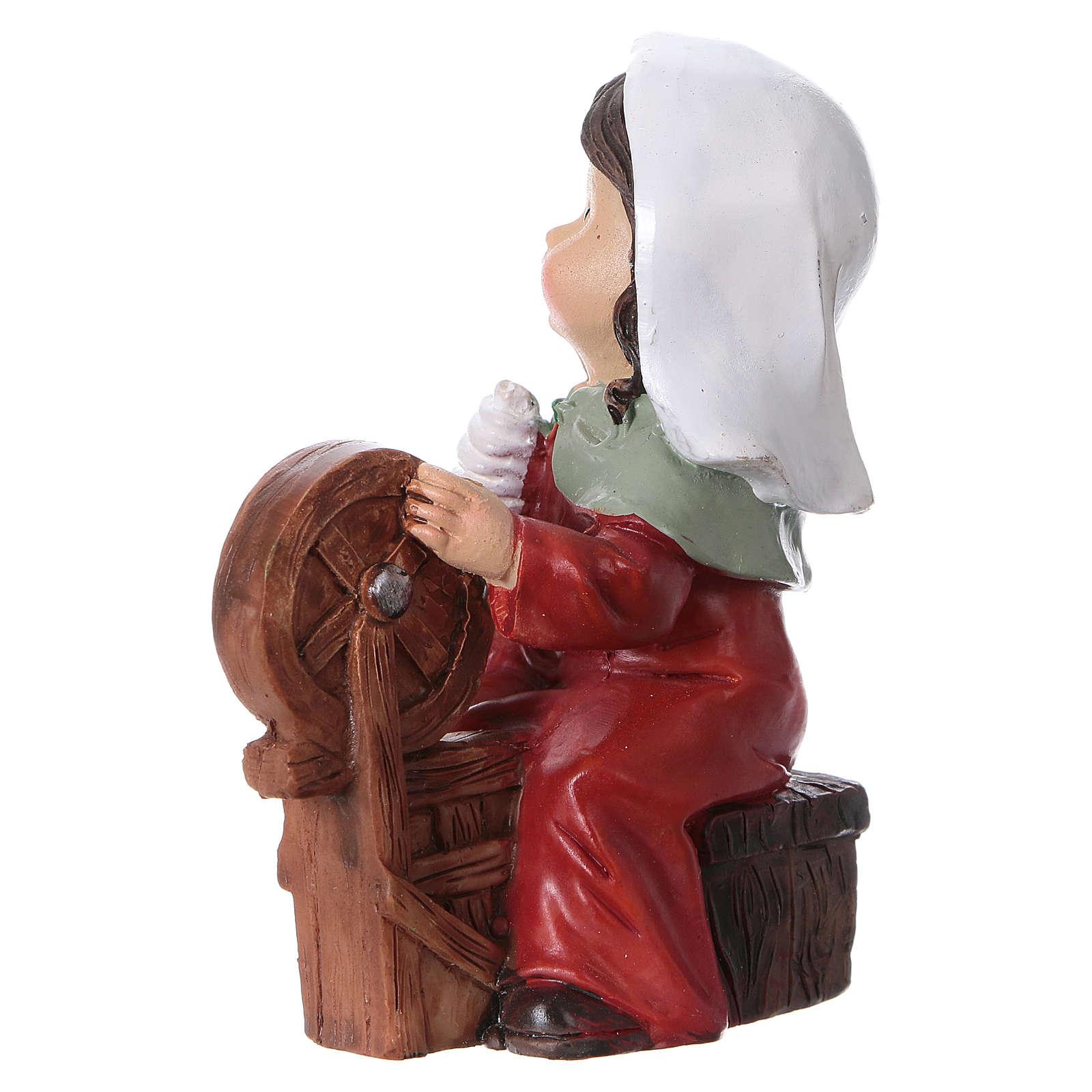Statuina filatrice di lana 9 cm per presepi linea bambino  3