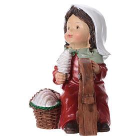 Statuina filatrice di lana 9 cm per presepi linea bambino  s1