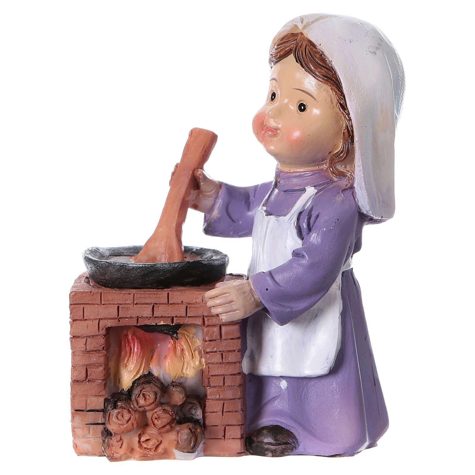Statuina cuoca per presepe linea bambino di 9 cm 3