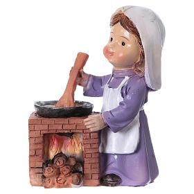 Statuina cuoca per presepe linea bambino di 9 cm s1