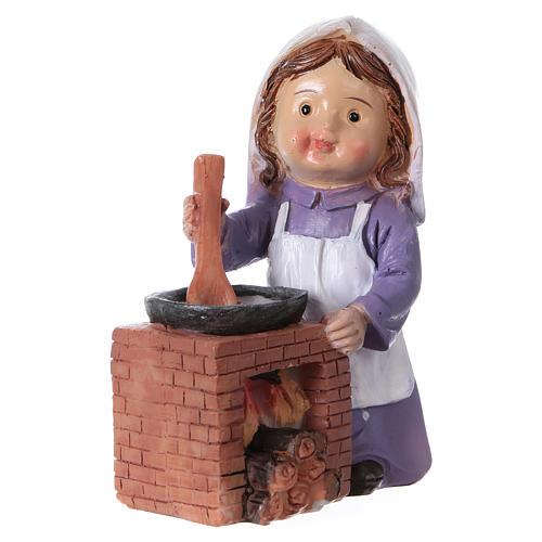 Statuina cuoca per presepe linea bambino di 9 cm 2