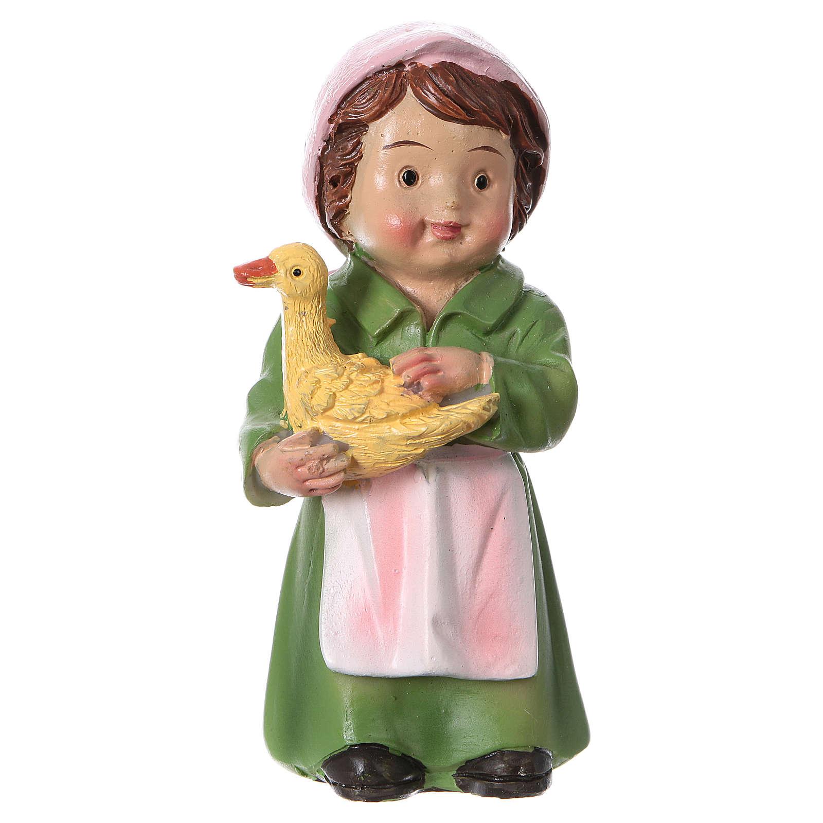 Estatua pastora con pato para belenes 9 cm línea niño 3