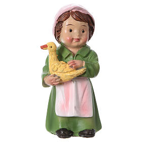 Figuras del Belén: Estatua pastora con pato para belenes 9 cm línea niño