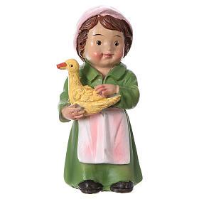 Santon bergère avec canard pour crèche 9 cm gamme enfants s1
