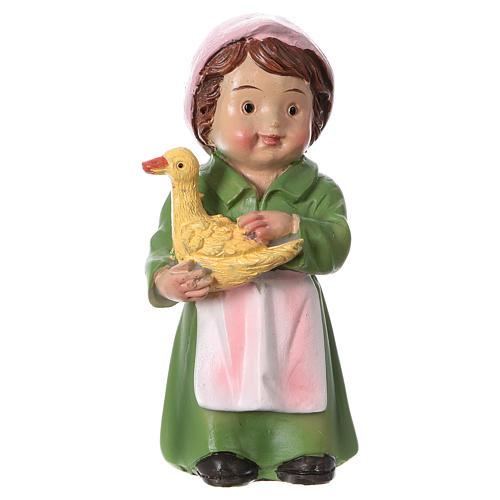 Santon bergère avec canard pour crèche 9 cm gamme enfants 1