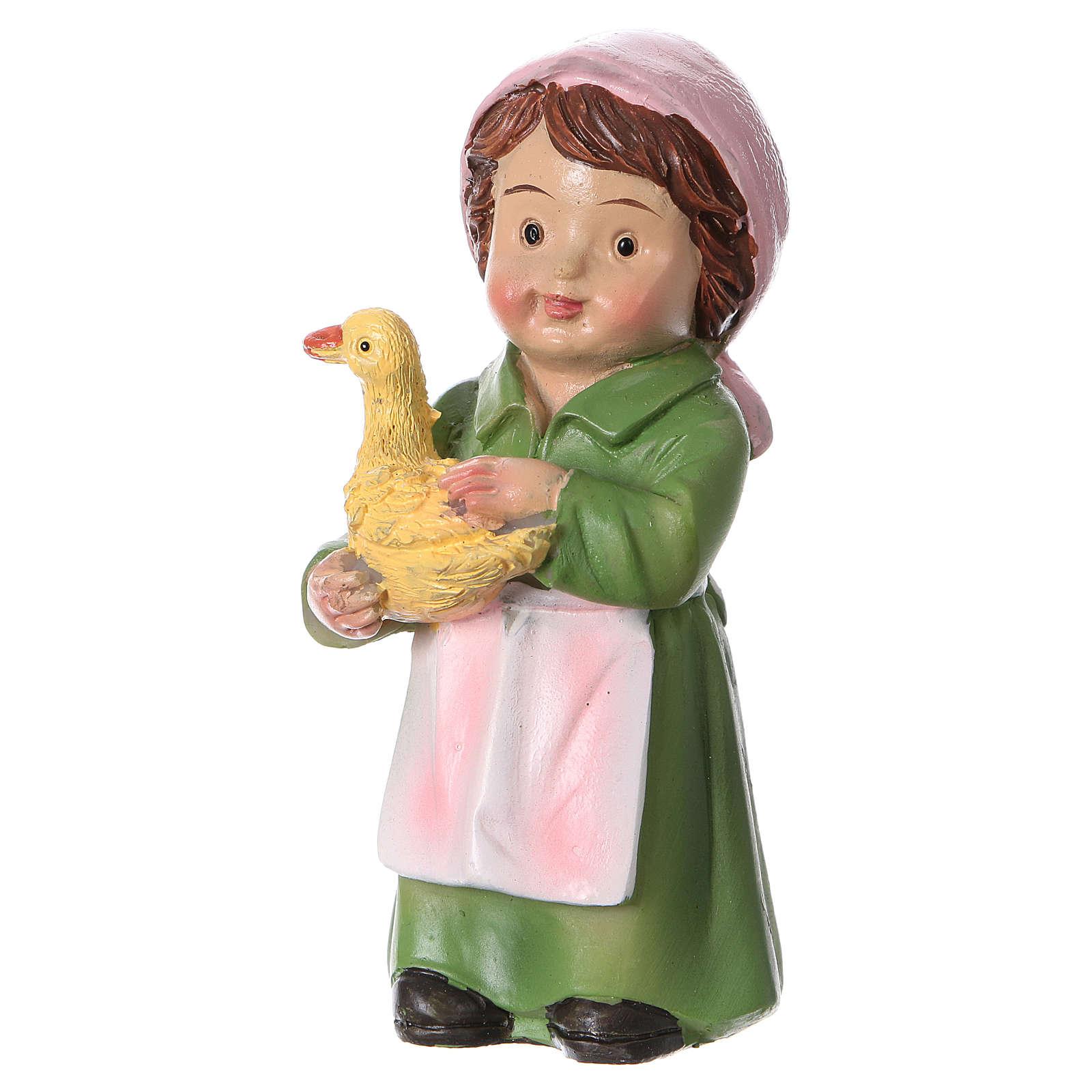 Statuina pastorella con papera per presepi 9 cm linea bambino 3